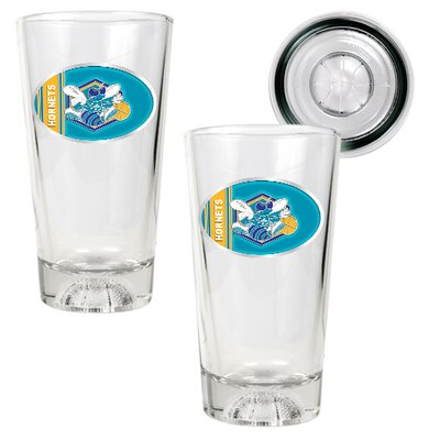 Great American Products NBA Pint Ale Glass 2 Piece Set with Basketball Bottom - Oval Logo