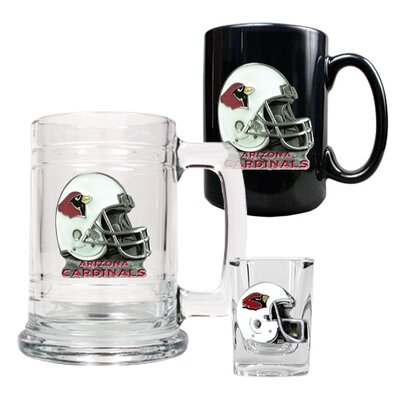 Great American Products NFL 15oz Tankard, 15oz Ceramic Mug and 2oz Shot Glass Set - Helmet Logo