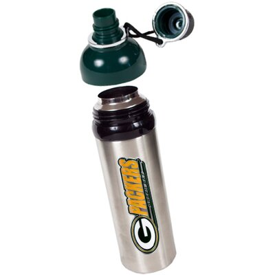 Great American Products NFL Packers 24oz Colored Stainless Steel Water Bottle Green Lid
