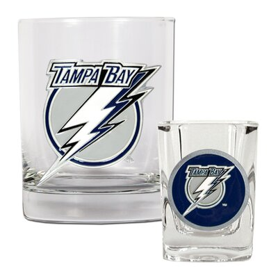 Great American Products NHL Rocks Glass and Square Shot Glass Set - Primary Logo