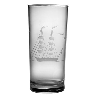 Susquehanna Glass Hi-Ball Glass 15 oz. Hand Cut Clipper Ship Pattern