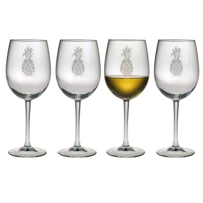 All Purpose Wine Glass 16 oz. Hand Cut Pineapple Pattern (Set of 4)