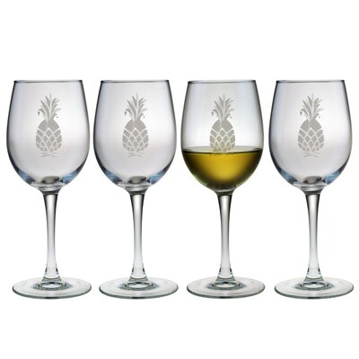 Susquehanna Glass White Wine Glass 12 oz. Hand Cut Pineapple Pattern (Set of 4)