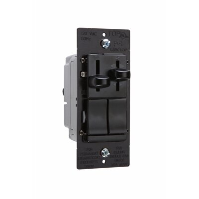 Legrand TradeMaster Slide Single Pole/Three Way Dimmer and Three Speed Fan Control DeHummer in Black