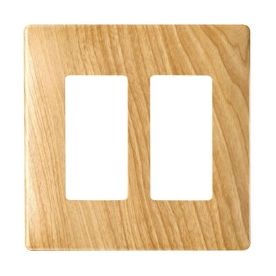 Legrand Two Gang Decorator Screwless Wall Plate in Metal maple