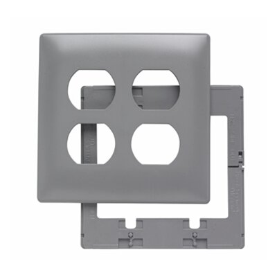 Legrand Two Gang Two Outlet Openings Screwless Wall Plate in Gray