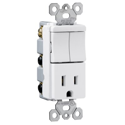Legrand TradeMaster 15A120/125V Decorator Two Single Switches and Single Outlet in Ivory