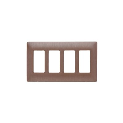 Legrand Four Gang Decorator Screwless Wall Plate in Brushed copper