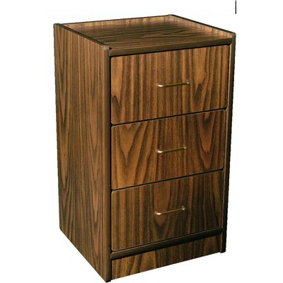 AmFab Bedside Cabinet with Three Drawer and Gunstock Walnut
