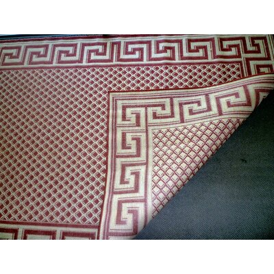 Greek Key Burgundy/Cream Indoor/Outdoor Rug