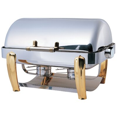 "SMART Buffet Ware ""Save on Additional Items""-Odin Oblong Roll Top Chafing Dish with Brass Plated Legs and Spoon Holder"