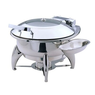 "SMART Buffet Ware ""Save on Additional Items""-Large Round Chafing Dish with Glass Lid, Base , Heater and Spoon Holder"