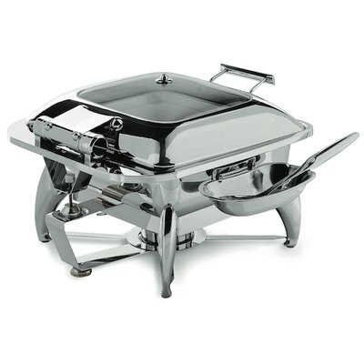 Square Chafing Dish with Glass Lid, Base, Heater and Spoon Holder