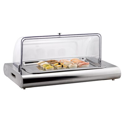 "SMART Buffet Ware ""Save on Additional Items""-Swatch Collection Stainless Steel Cold Display with Domed Cover, Tray and Two Refillable Ice Packs"