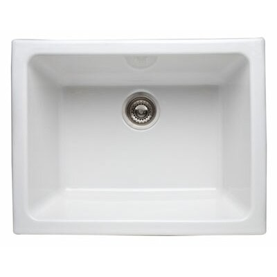 Rohl Single Bowl Undermount Fireclay Kitchen Sink in Matte Black