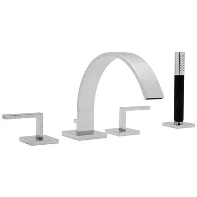 Rohl Modern Double Handle Deck Mount Roman Tub Faucet with Handshower