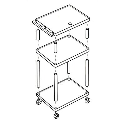 Bretford Manufacturing Inc Adjustable Height UL Listed Plastic Duo Utility Cart