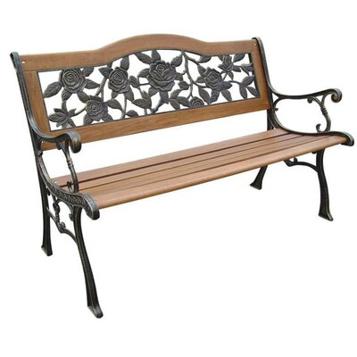 DC America Rose Resin Wood and Cast Iron Park Bench