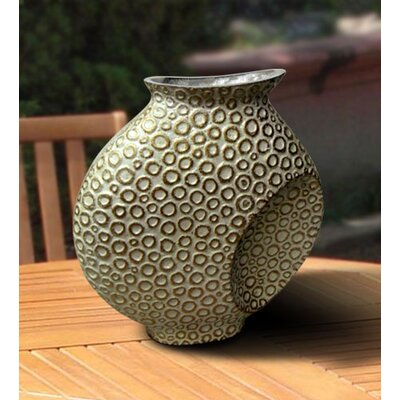 Global Pickings Natural Home Decor Mystique Pearl Vase in White and Gold