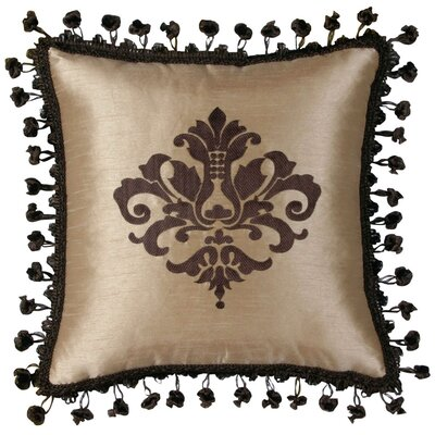 Jennifer Taylor Broderick Synthetic Pillow with Lace Tassles and Embroidery