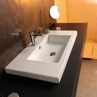 Cangas Ceramic Bathroom Sink with Overflow - Art CAN03011