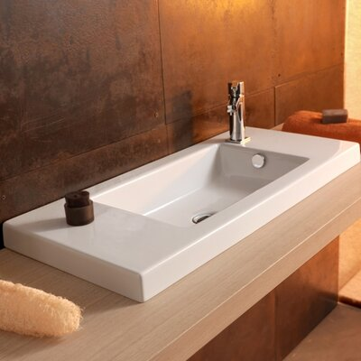Serie 35 Ceramic Bathroom Sink with Overflow - Art 3501011 35 / 80
