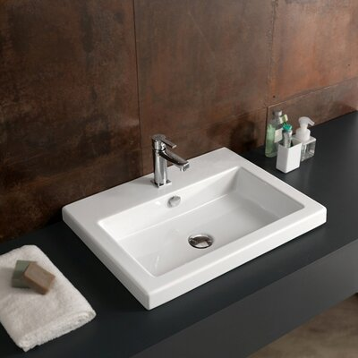 Ceramica Tecla Cangas Ceramic Bathroom Sink with Overflow
