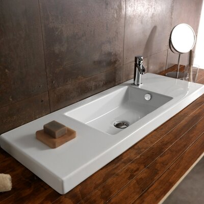Ceramica Tecla by Nameeks Serie 35 Ceramic Bathroom Sink with Overflow