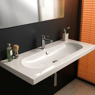 EDO Wide Ceramic Bathroom Sink with Overflow - Art EDW3011