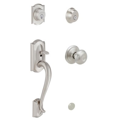 Schlage Camelot Double Cylinder Handleset with Georgian Interior Knob in Satin Nickel