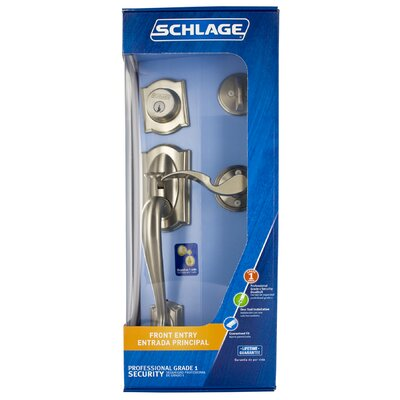 Schlage Camelot Front Entry Handleset with Accent Lever