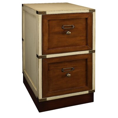 Authentic Models Campaign File Cabinet in Ivory and Distressed Honey