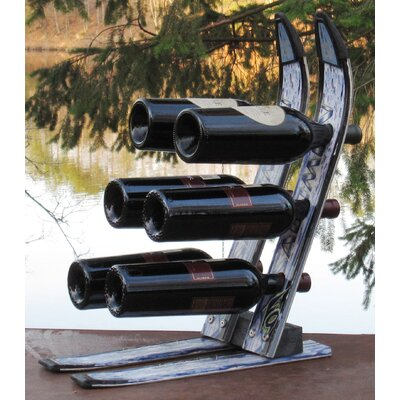 Ski Chair Snow 6 Bottle Tabletop Wine Rack