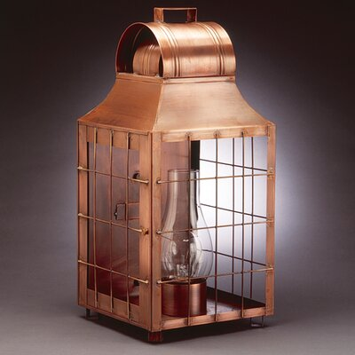 Northeast Lantern Livery Medium Base Socket with Chimney Culvert Top H-Rod Wall Lantern