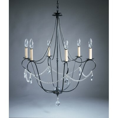 Northeast Lantern Chandelier  6 Light Candelabra Sockets Hanging Chandelier with Crystals