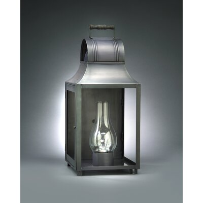 Northeast Lantern Livery Medium Base Socket with Chimney Culvert Top Wooden Handle Wall Lantern
