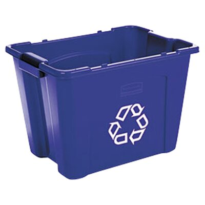 Rubbermaid Commercial Products Stacking Rectangular 14 Gallon Curbside Recycling Bin