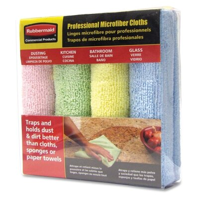Rubbermaid Commercial Products Microfiber Cloths, Color Coded, 4/PK, BE/YW/GN/PK