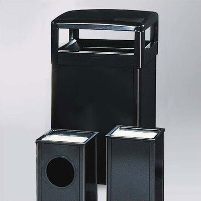 Rubbermaid Commercial Products Howard Standard Black Small Hinged Top Receptacle