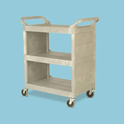"Rubbermaid Commercial Products 37.5"" Platinum Utility Cart with 3 Shelves"
