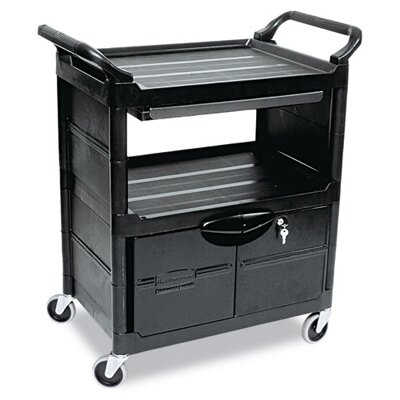 Rubbermaid Commercial Products Utility Cart with Locking Doors and 2-Shelf in Black