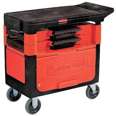 Rubbermaid Commercial Products Locking Trades Cart with 2 Shelves in Black