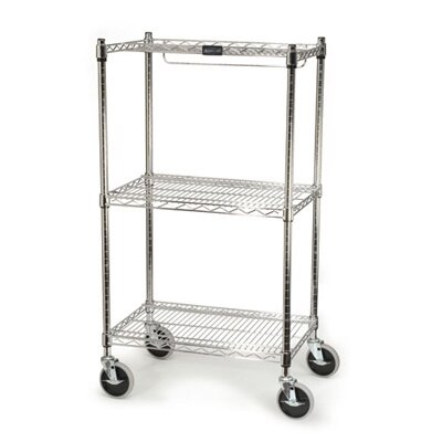 Rubbermaid Commercial Products ProSave Shelf Ingredient Bin Cart with 3 Shelves in Chrome