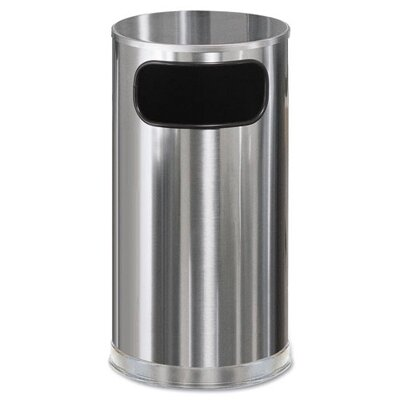 Rubbermaid Commercial Products Round European Metallic Stainless Steel Side-Opening Receptacle