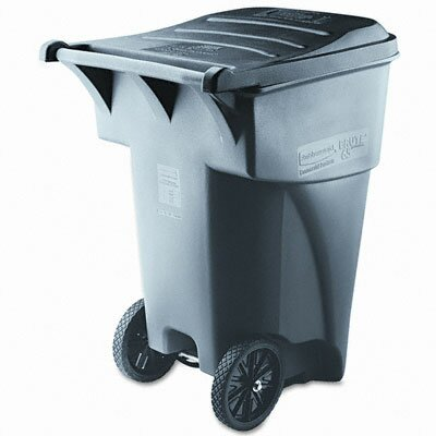 Rubbermaid Commercial Products Brute Rollout Waste Container, Square, Polyethylene, 95gal, Gray