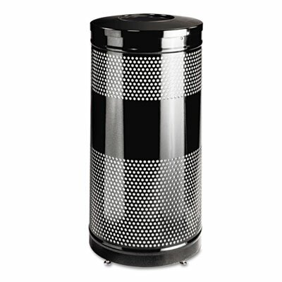Rubbermaid Commercial Products Open Top Receptacle, Round, Steel, 28 gal, Black