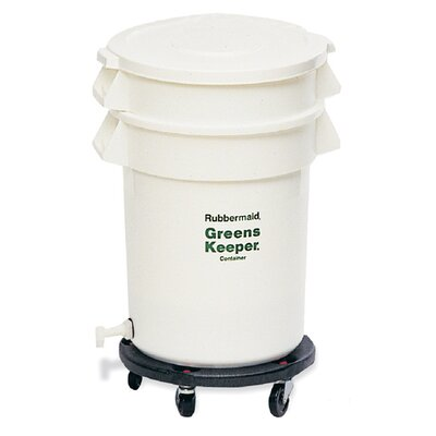 Rubbermaid Commercial Products Brute Greenskeeper Container with Lid and Dolly - 20 Gallon