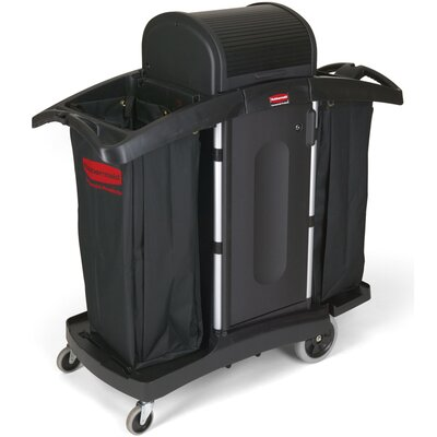 Rubbermaid Commercial Products High-Security Housekeeping Cart with 2-Shelf in Black