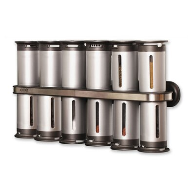 Zevro Wall Mount Magnetic Spice Rack 12 Piece Set