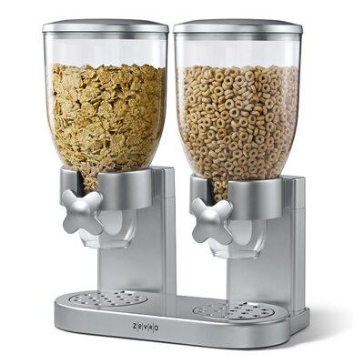 Zevro Dry Food Dual Dispenser in Silver